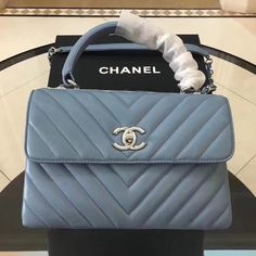 04bf36f32e0c Chanel Trendy CC Chevron Lambskin Small Flap Bag with Top Handle A92236  Light Blue S