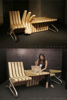 DESIGNER INSPIRATION eco furniture of the future Smart space use Coffee bench Karolina Tylka 2002 (cushion concept that would not be in the way needed foldable?) The post DESIGNER INSPIRATION eco furniture of the future appeared first on Design Diy. Wood Projects, Woodworking Projects, Design Projects, Woodworking Techniques, Teds Woodworking, Adjustable Table, Unique Furniture, Furniture Ideas, Smart Furniture