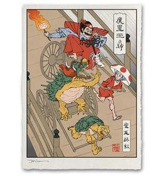 Rickshaw Cart Giclée Print - Ukiyo-e Heroes