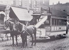 """Horse drawn tram outside the King William IV Trafalgar Road Greenwich also known as """" a growler """" Vintage London, Old London, East London, King William Iv, Old Greenwich, Victorian Photography, Charles Spurgeon, London Transport, Horse Drawn"""
