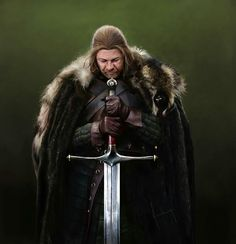 Lord Eddard Stark, Hand if the King from Game of Thrones Game Of Thrones Houses, Game Of Thrones Fans, Ice Sword, Lord Eddard Stark, Ned Stark, Imperial Knight, The North Remembers, Ice Art, Valar Dohaeris