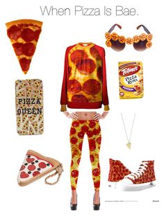 """""""When pizza is bae."""" by warsonben ❤ liked on Polyvore featuring interior, interiors, interior design, home, home decor, interior decorating, Betsey Johnson and Rock 'N Rose"""