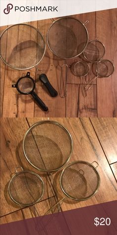 Assorted strainers lot Set of three smaller ones have never been used. Got a set for our wedding and don't need these. Other