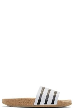 5b8737353f61fb adidas Originals - White Adilette Cork Slide Sandals Flat Sandals