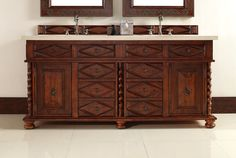 """James Martin 100-V72-BCH-GLB Continental 72"""" Burnished Cherry Double Vanity with Galala Beige Stone Top"""