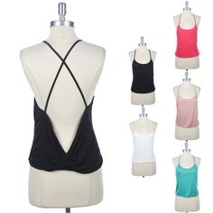 Twisted Back Bottom Cross Back Camisole Tank Top Spaghetti Strap Rayon S M L
