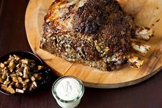 // Roasted Prime Rib with Sauteed Mushrooms and Mom's Creamy Horseradish Sauce