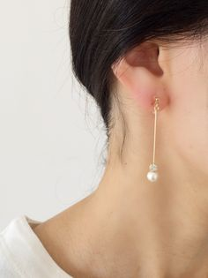‼️ Pearl long drop earrings - chain instead of bar Kpop Earrings, Bridal Earrings, Beaded Earrings, Beaded Jewelry, Pearl Earrings, Ear Jewelry, Jewelery, Jewelry Accessories, Jewelry Design