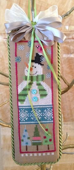 completed cross stitch Lizzie Kate Christmas ornament / door hanger snowman