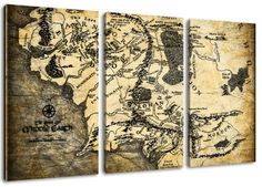 """Middle-earth world map, lord of the rings picture, 3-piece canvas (Total Size: 47.2"""" x 31.5""""), high-quality art print as a mural. Cheaper than an oil painting! WARNING NO poster! Dream-Arts http://www.amazon.co.uk/dp/B00GAB8Z5A/ref=cm_sw_r_pi_dp_NCC7wb1683HCH"""