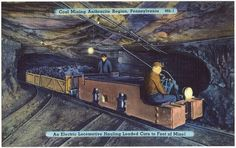 Here are some postcards from Pennsylvania.  This makes me miss visiting the Pioneer Tunnel as a kid.