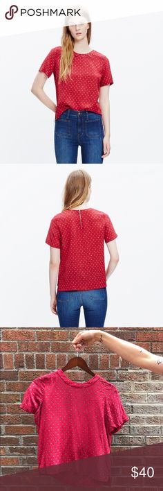 Madewell Silk Refined Tee in Foulard Dot A sophisticated silk take on a pared-down T-shirt shape in a menswear-inspired print. Excellent used condition! Madewell Tops