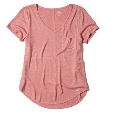 Hollister Must-Have Easy Pocket Tee ($8.99) ❤ liked on Polyvore featuring tops, t-shirts, heather coral, pocket tees, red v neck t shirt, rounded hem t shirt, heather red t shirt and v neck tee