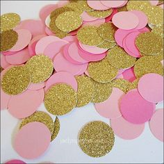 Pink, Rose & Gold Party Confetti - to sprinkle on tables? Or hang up against wall? Can start cutting from now
