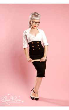 New Military Secretary Dress in Black Bengaline and White Poplin - I could wear that to work.