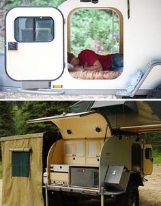 The Moby1 XTR manages to fit in plumbing for running water, and solar panels for energy when deployed in a remote setting – no need to park and plug on the grid @ http://dornob.com/rugged-teardrop-trailer-home-for-radical-off-road-adventures/