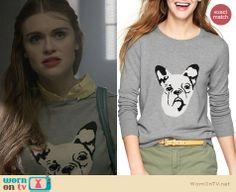 Lydia's grey dog sweater on Teen Wolf. Outfit Details: http://wornontv.net/25872 #TeenWolf #fashion