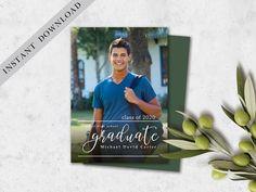 Graduation Card 2020, Graduation Invitation Template with Photo, Graduation Announcement, Graduation Party invitation