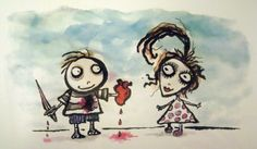 A valentine made by Tim Burton for Helena Bonham Carter. Awwwwwwwasdfghjkl; <3