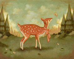 Art ideas:  Baby Deer Print 10x8 Children's Art Nursery Art by thelittlefox