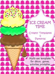 Here's a variety of ice creamy fun for your classroom:Lots of Patterns, Shapes, Templates, Labels, Frames, Ice Cream Theme Writing Prompts, and StationeryThere are loads of possibilities for using this set of ice cream templates. The following are just some ideas:***Suggested Possibilities for Crafts and Writing***Paragraph writing- See topics belowThematic Words for Writing (poetry, narratives, etc.)Ice Cream Book (shape book for younger students)Fine Motor Practice-cutting, tracing, ...