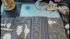 IOD by Prima silicone molds for beautifully dimensional vintagey baroque goodies to embellish your décor and craft projects. AND they play well with so many . Clay Projects, Diy Craft Projects, Diy And Crafts, Projects To Try, Arts And Crafts, Diy Plaster, Plaster Molds, Iron Orchid Designs, Paperclay