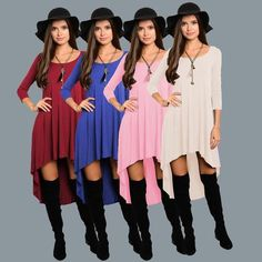 Irregular Loose Version Great Neck Long Sleeved Dress