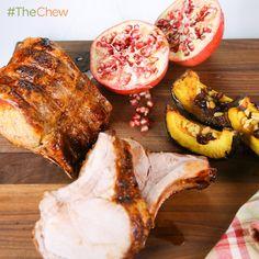 Michael Lomonaco's Roast Loin of Pork with Chili Pomegranate Glaze #TheChew