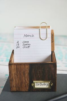 Recipe Box Birthday Calendar | Birthday Desktop Calendar