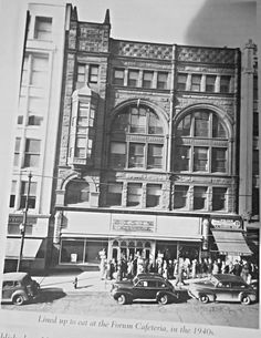 Forum Cafeteria 1212 Main - The place to lunch when shopping downtown. Kansas City Downtown, Kansas City Missouri, Classic Architecture, City Architecture, Old Pictures, Old Photos, Prairie Village, Heart Of America, Central Business District