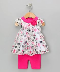 Take a look at this Pink Polka Dot Top & Capri Pants by Baby Essentials on #zulily today!