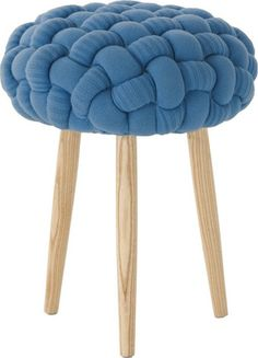 Knitted Knot Blue Stool  By   Gandia Blasco