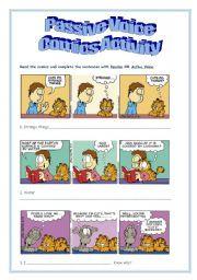 English worksheet: Passive Voice - Comics Activity
