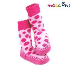 Calcetines antideslizantes con suela de piel mocc ons rosa lunares (6 - 24 meses)