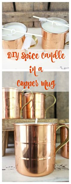 DIY Spice Candle in a Copper Mug - How to make a candle. Fall candle. Fall decor. Winter candle. Cinnamon candle. Clove candle. 2 Bees in a Pod