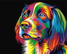 Картина по номерам, раскраска по номерам, paint by numbers, оригинальный подарок - Радужный пес, Ваю Ромдони - Zvetnoe.ru - картины по номерам