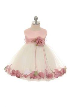 Baby girls ivory dusty rose petal adorned satin tulle flower girl rose ivorydusty rose infant rose petal flower girl dress with removable sash mightylinksfo