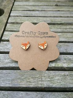 £5.50 Wooden sleeping fox face earrings  fox by TheCraftyCowShed on Etsy