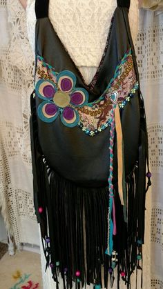 Handmade Black Leather Fringe Shoulder Bag Hippie Boho Hobo Gypsy Purse tmyers #Handmade #ShoulderBag