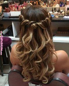 # for # big - Curly Hairstyles - Hochzeitsfrisuren-braided wedding updo-Wedding Hairstyles Prom Hairstyles For Long Hair, Curled Hairstyles, Braided Hairstyles, Wedding Hairstyles, Gorgeous Hairstyles, Long Prom Hair, Hair For Prom, Sweet 16 Hairstyles, Semi Formal Hairstyles