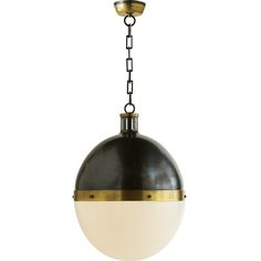 Thomas O'Brien Extra Large Hicks Pendant in Bronze & Hand-Rubbed Antique Brass with White Glass by Visual Comfort & Co. TOB5064BZ/HAB-WG
