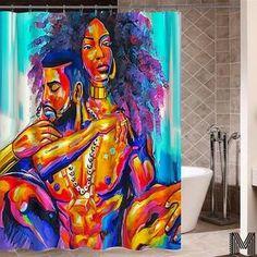 Art Design Graffiti Art Hip Hop African Black Women with Natural Hair Shower Curtain Bathroom Decor Bathroom Shower Curtains, Fabric Shower Curtains, Curtain Fabric, Bathroom Showers, Bath Shower, Glass Shower, Shower Doors, Black Love, Black Man
