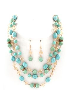 3 Layers of Polished Turquoise beads mixed with Champagne Crystals + Earrings.