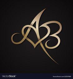 Letter ab love vector image on VectorStock Alphabet Tattoo Designs, Alphabet Design, Letter H Design, Graffiti Lettering Fonts, Tattoo Lettering Fonts, Wedding Logo Design, Wedding Logos, Ab Tattoo, Fancy Writing