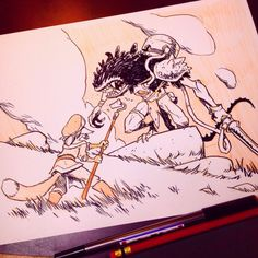 """INKTOBER Day 7!  The tengru came out of nowhere and attacked. His mother beat the creature back and yelled, """"Wake, RUN!"""" He bolted for the tool shed and grabbed the first thing he saw; a rusty shovel. By the time he got back to her, she lay listless on the ground. The beast was gone.  #inktober #inktober2015 #SkyHeartComic  Week ONE is down! You guys have been so supportive, I really appreciate it. Getting me all excited to start drawing this graphic novel. The Kickstarter for it..."""