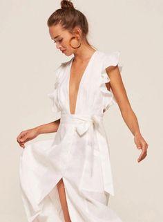 Women's Fashion V Neck Ruffle Trim Slit Midi Dress with Belt novashe.com