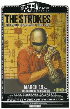 Concert poster for The Strokes at The Fillmore Auditorium in Denver, CO in 2006. 11 x 17 inches on card stock.