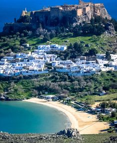 The Beach and Acropolis in Lindos Rhodes Greece
