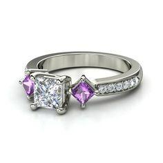 Princess Diamond 14K White Gold Ring with Amethyst