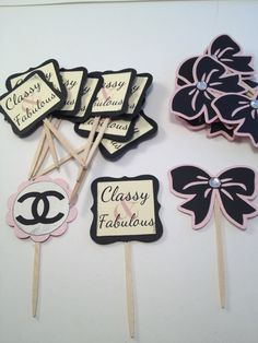 Chanel inspired cupcake toppers
